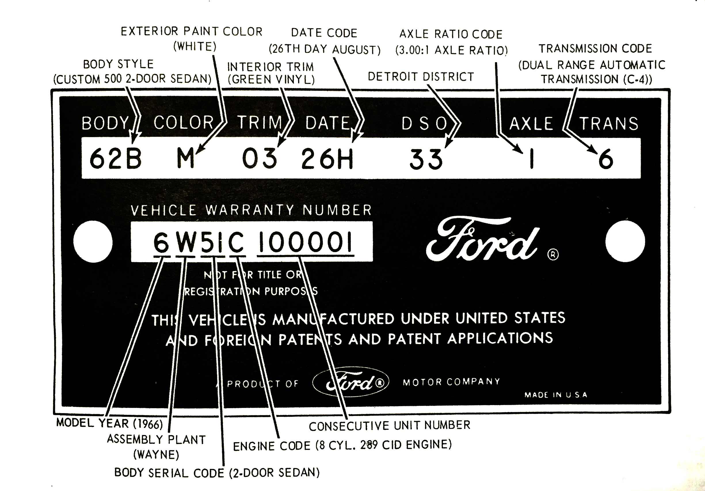 The figures above illustrates ford warranty data plates plate is located on rear lock face of left front door panel also  socal galaxie club rh so calgalaxies
