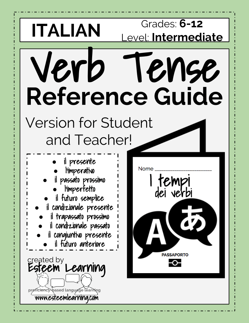 Italian verb tenses reference guide booklet chart also  esteem rh esteemlearning