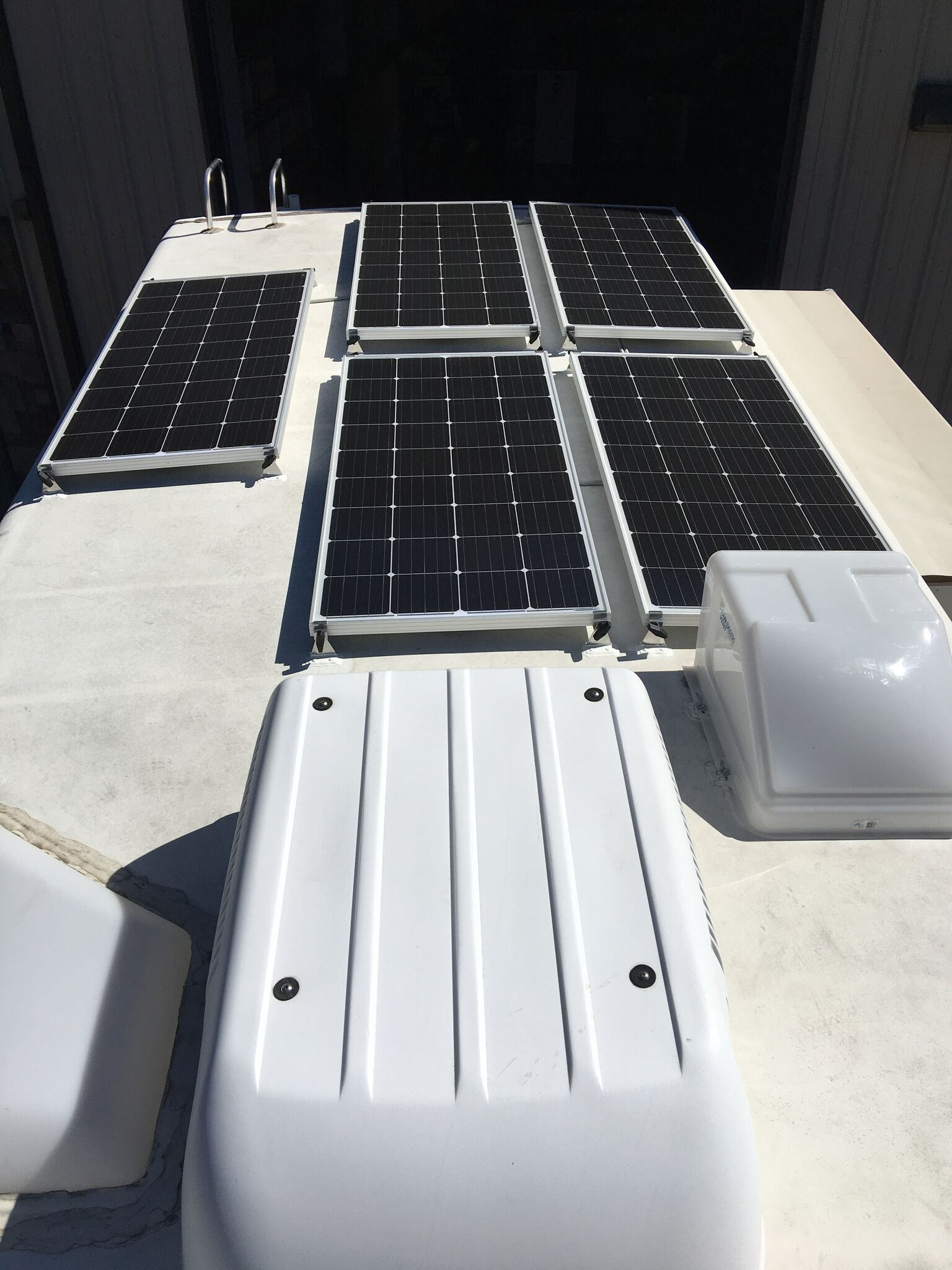 hight resolution of equipment added 5x sf180 solar panel kits 1x roof combiner box 1x victron bluesolar smart