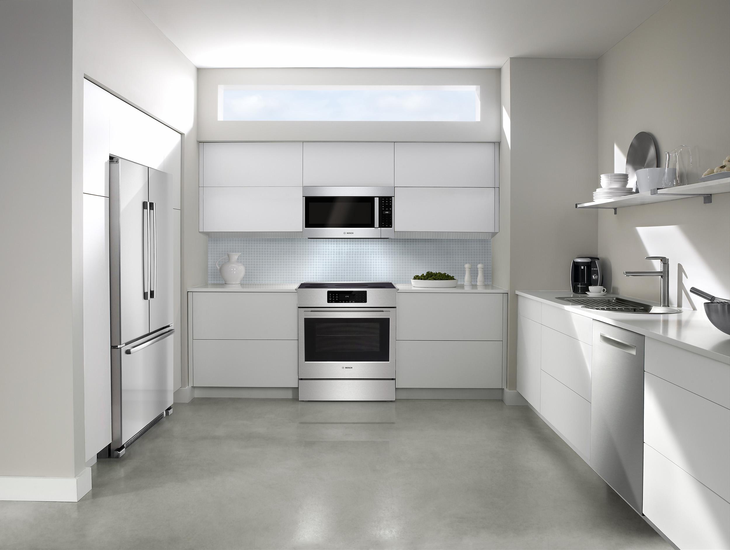 bosch kitchen white modern cabinets appliances calgary alberta kuchen benchmark