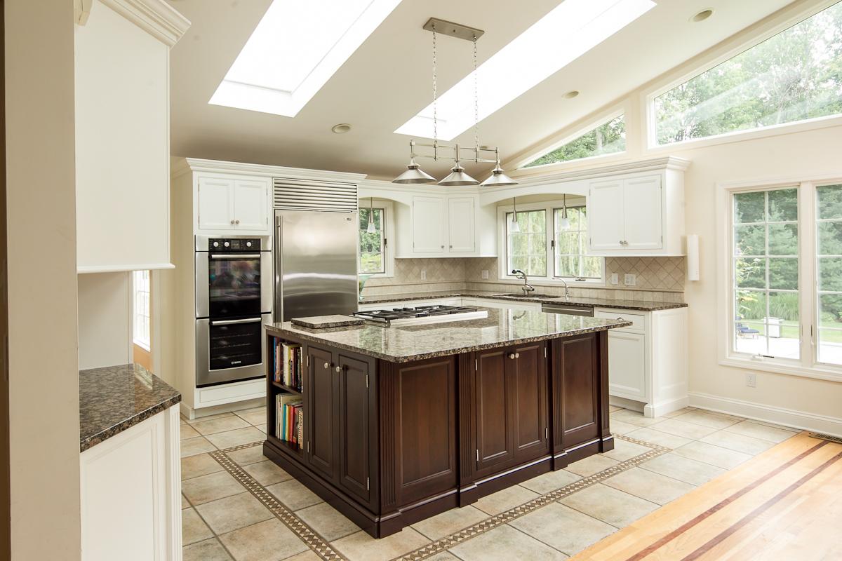 Updated Kitchen with White  Dark Cherry Modern Cabinets