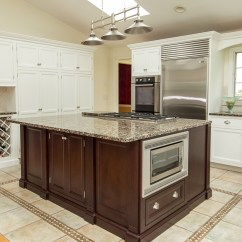 Granite Top Kitchen Island Cheap Stainless Steel Appliances Updated With White & Dark Cherry Modern Cabinets ...