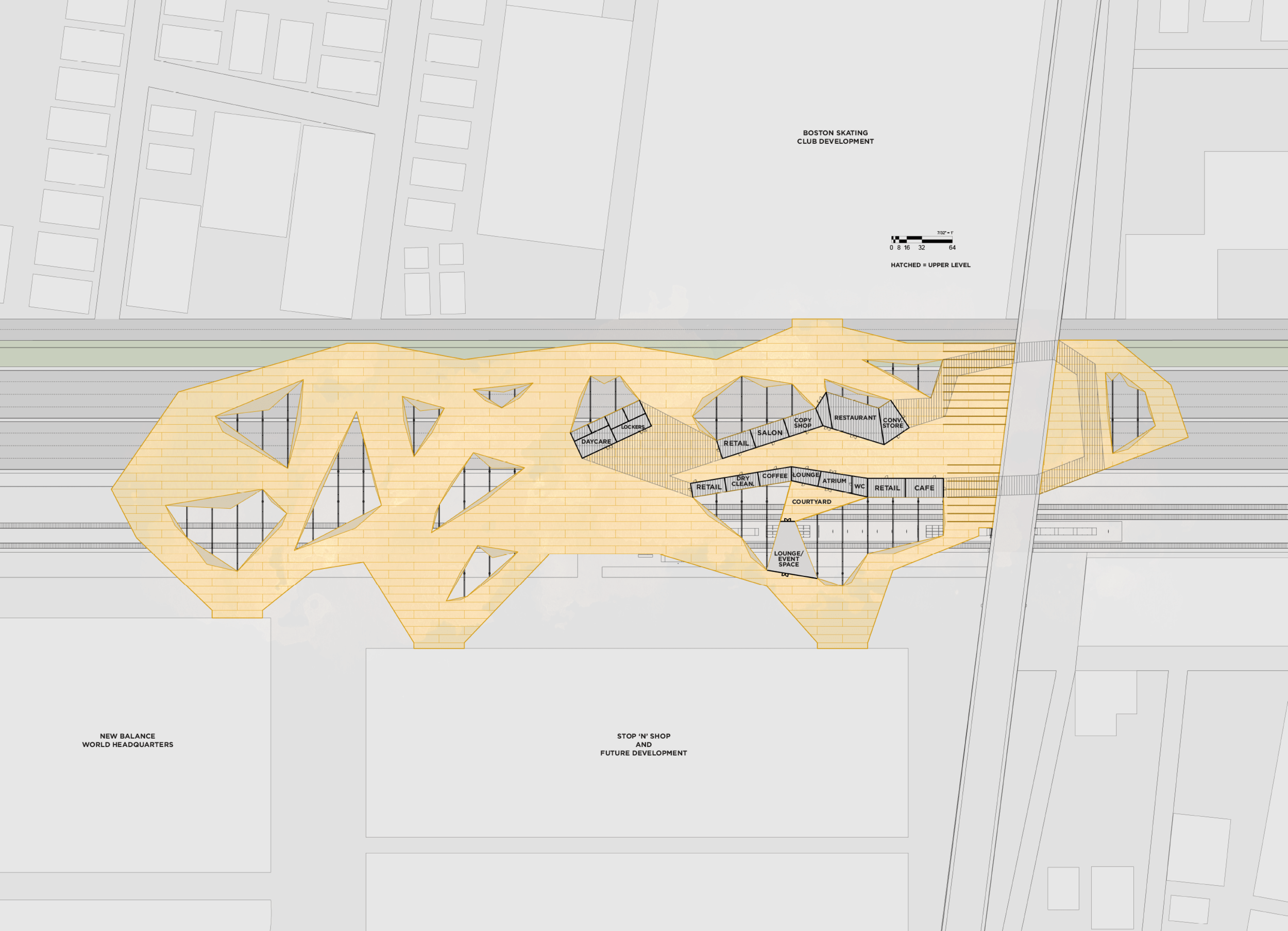 medium resolution of plan diagram of full deck layout and how it s situated within the urban context autocad
