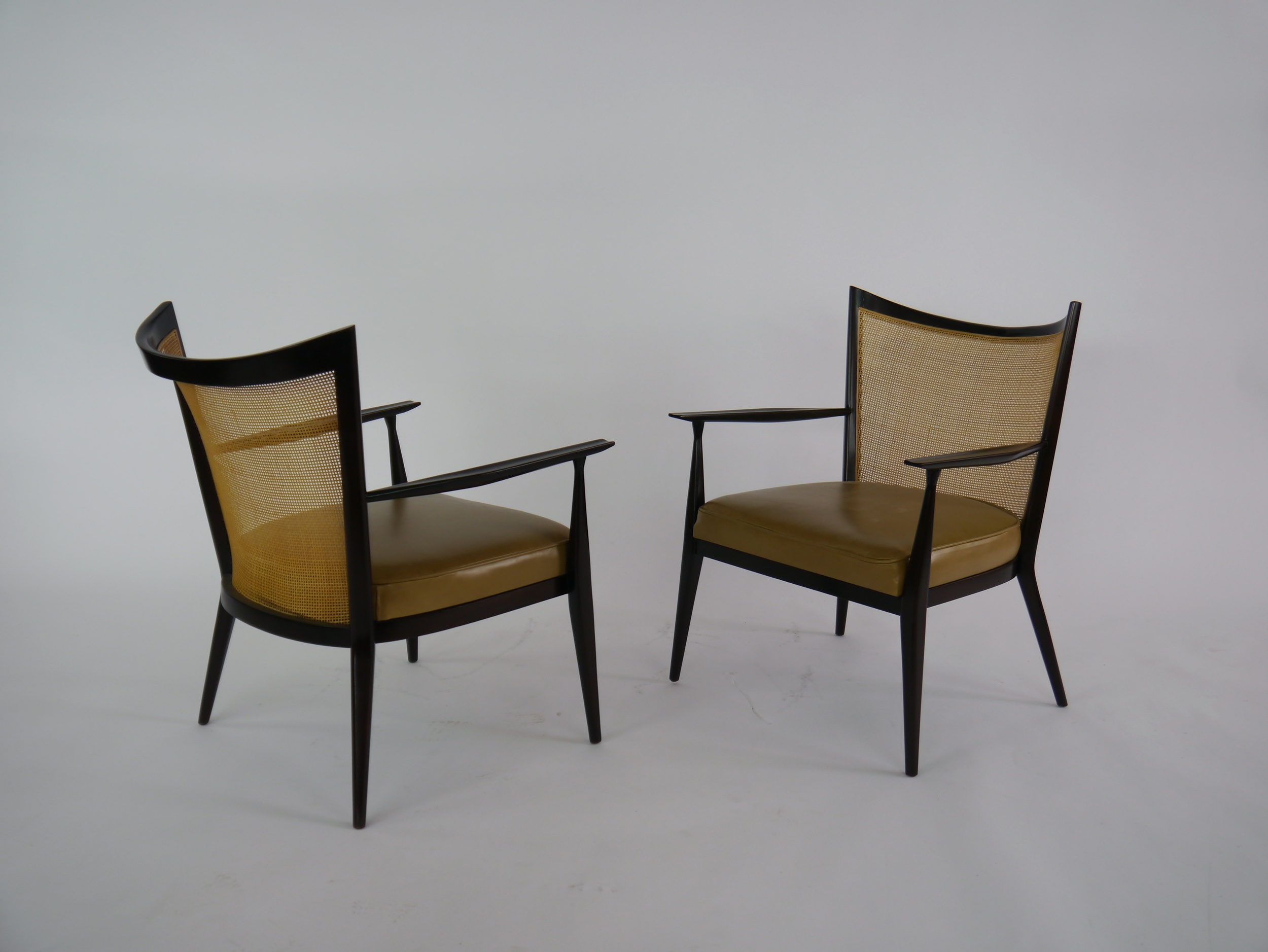 Paul Mccobb Chairs Elegant Lounge Chairs In Cane And Leather By Paul Mccobb