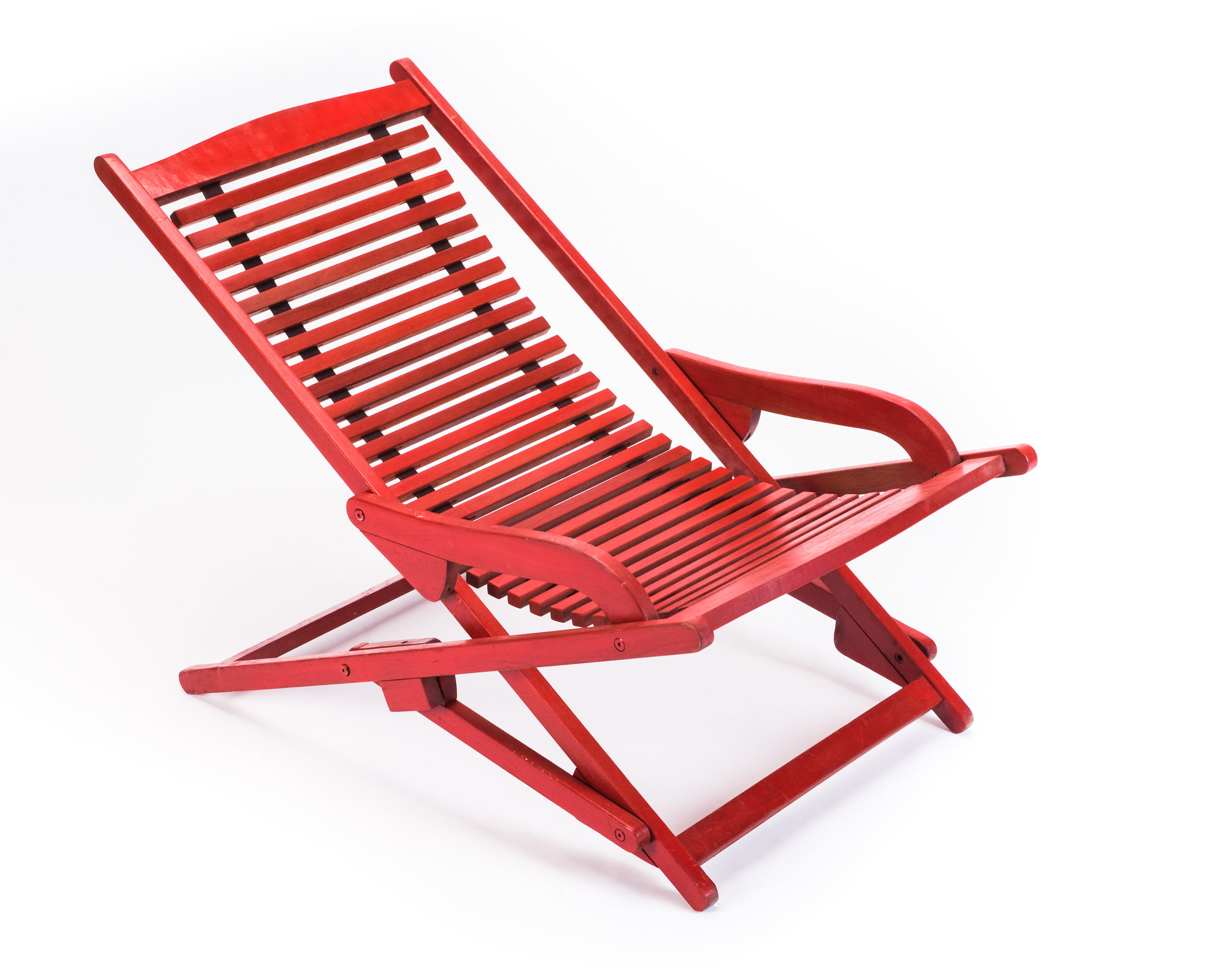 Folding Lounge Chair Modern Red Wooden Slatted Folding Lounge Chair Hook Props