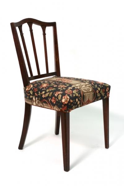 floral upholstered chair revolving director antique wooden arm hook props