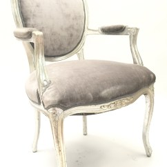 Oversized Upholstered Chair Design Within Reach Office Grey Velvet Louis Arm Hook Props