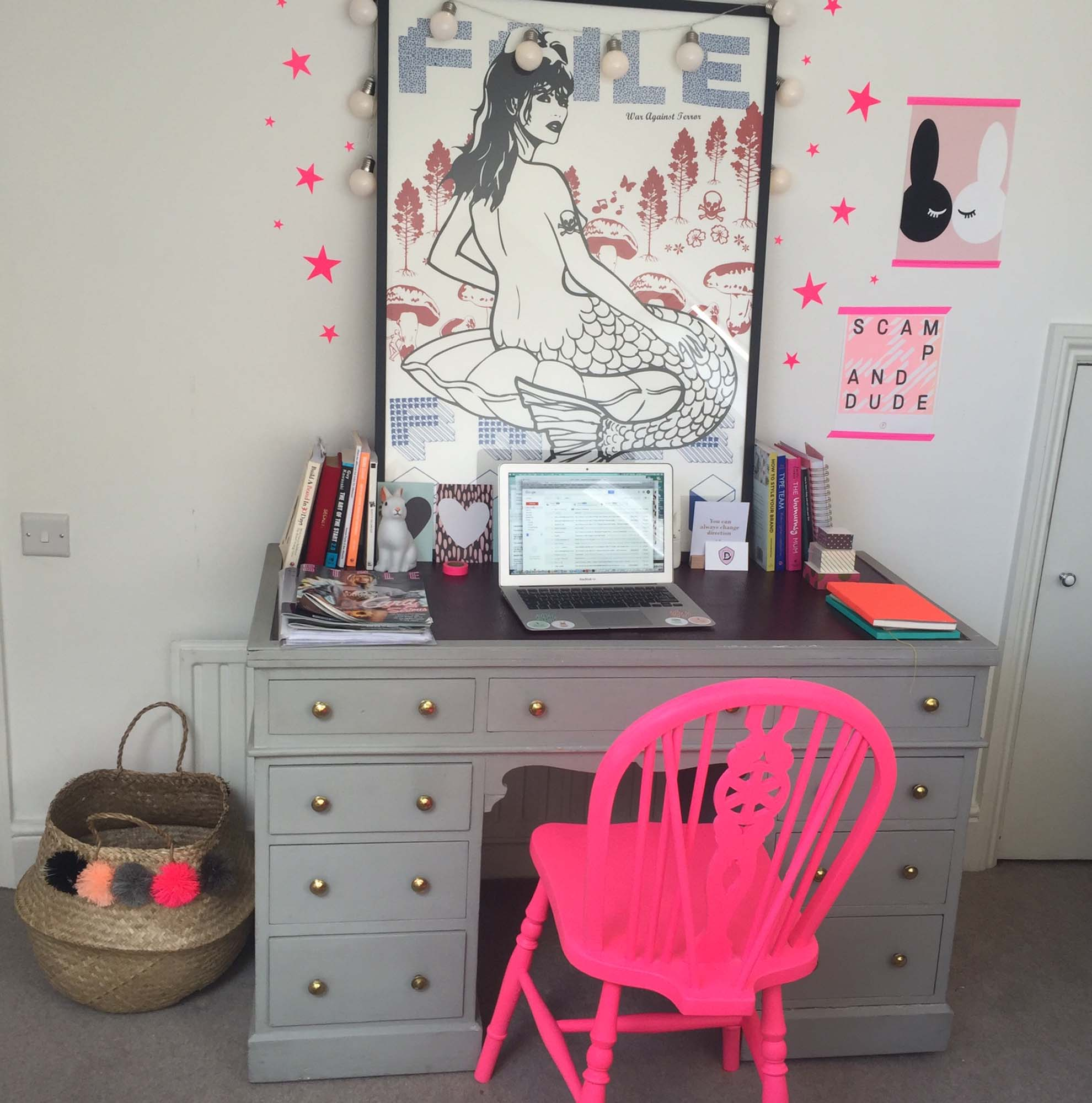 neon pink chair leather eames me my roomwreckers jo tutchener sharp scamp dude the house s office nbsp with