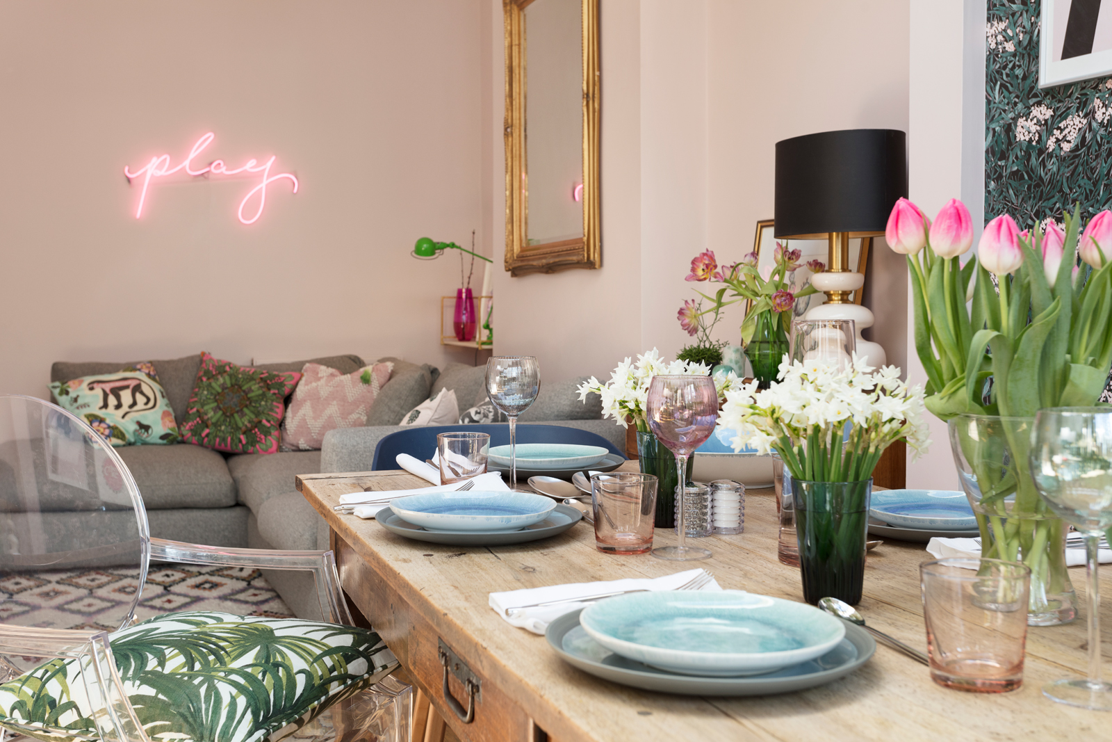 house of turquoise living room windows the pink dining s spring revamp has sprung in photo susie lowe