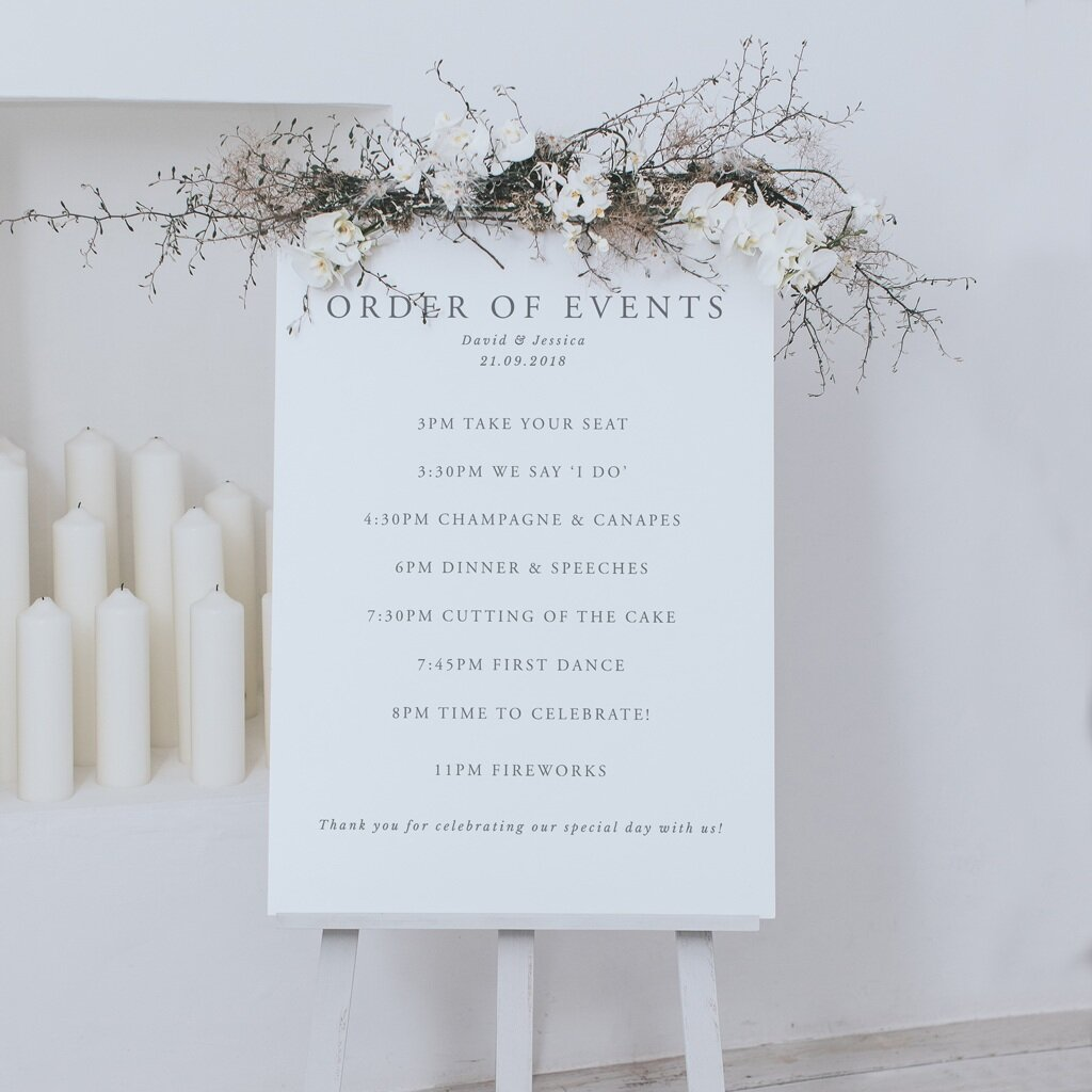 Elegance Order Of The Day Sign Lilac White
