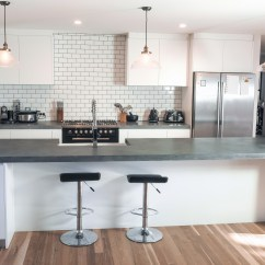 White Kitchen Bench Faucets Touchless Concrete Benchtops Canberra 4 5meter Island Top