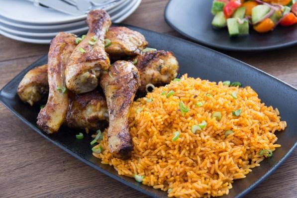 Image result for jollof rice and jerk chicken