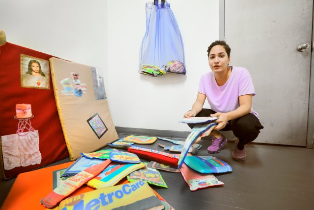 Lucia Hierro in her exhibition Mercado