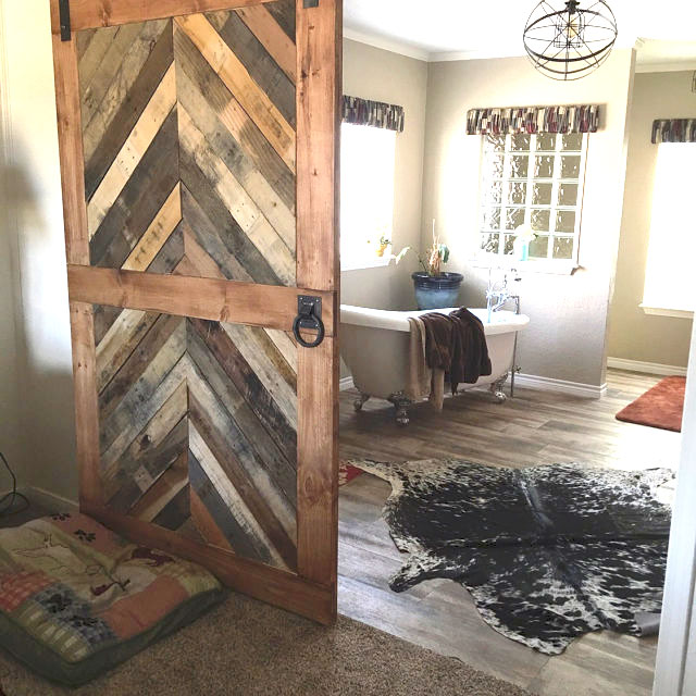 Reclaimed Wood Chevron Barn Door  Laelee Designs
