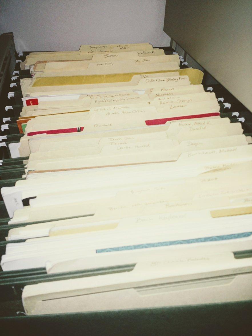 Sarah's filing cabinet of organ sheet music.