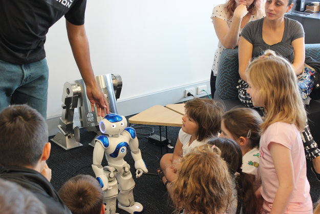 Playing with Nao robot on our visit to the Australian Centre for Robotic Vision
