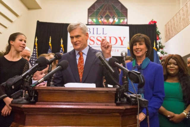 Republican U.S. Representative Bill Cassidy addresses supporters after announcing his win in the run-off election for U.S. Senate against Democrat Mary Landrieu in Baton Rouge, Louisiana, December 6, 2014. At right, wife, Laura Cassidy. At left, daughter, Kate. (Photo: Reuters/Lee Celano)