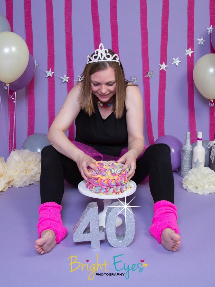 40th Birthday Cake Smash Bright Eyes Photography