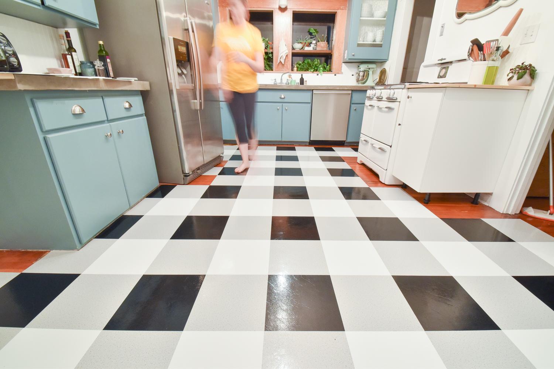 kitchen vinyl flooring pavestone outdoor a diy transformation using floor tiles video the gold hive tutorial
