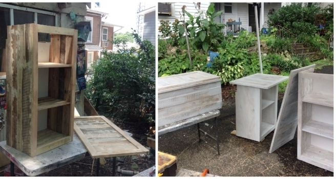 building kitchen wall cabinets outdoor table diy making new from pallet wood dawn kinney martin now to build the they are a basic box with facing and shelves once built i filled cracks gaps putty