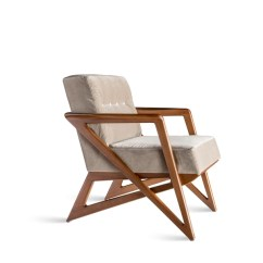 Wooden Lounge Chair Genuine Leather Dining Chairs Beatriz Sossego