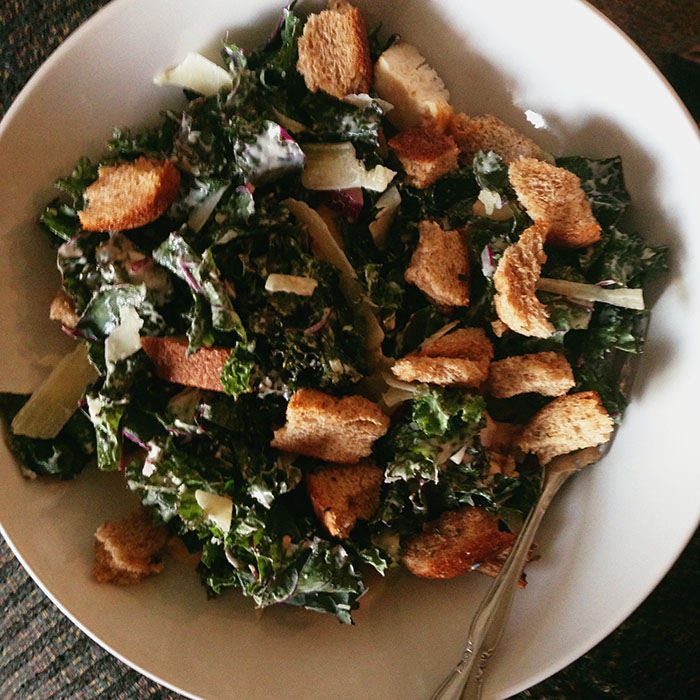 Kale chicken caesar salad