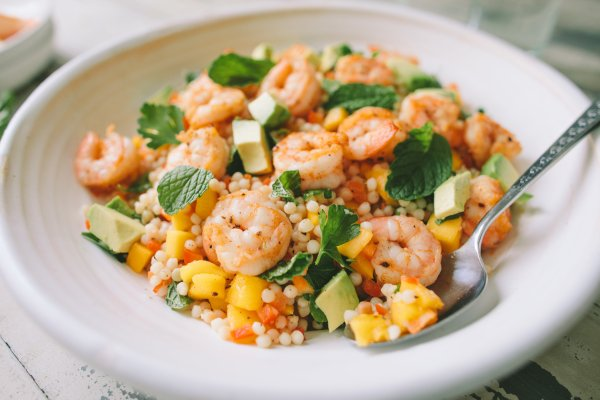 Shrimp and Israeli Couscous Salad with Mango and Avocado