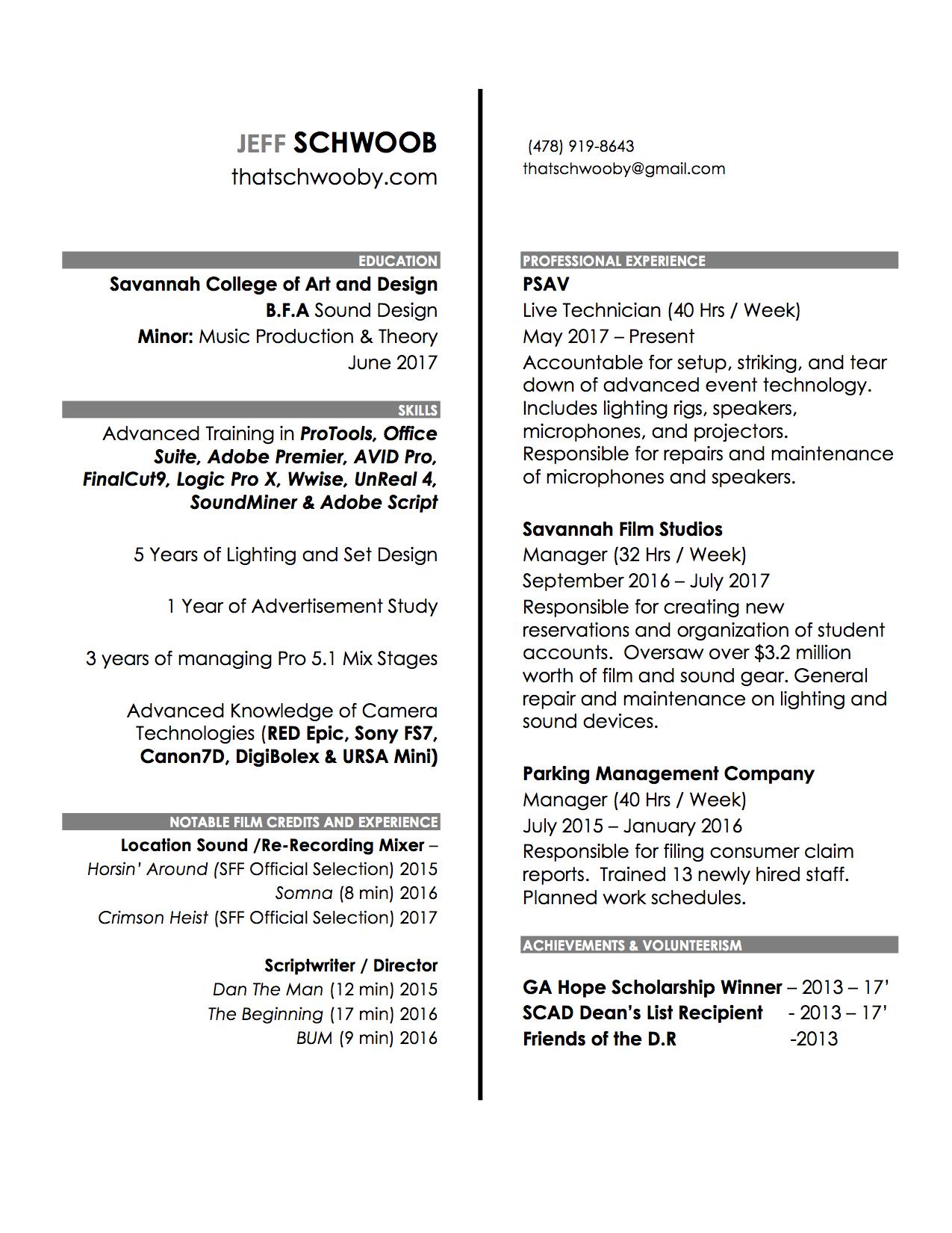 Resume — jeff schwoob