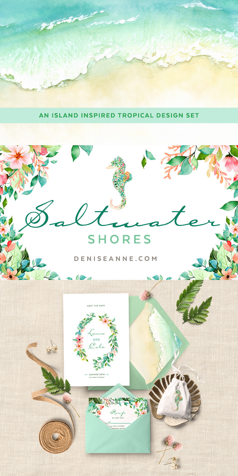 watercolor tropical clipart with seahorse for invitation designs [ 800 x 1600 Pixel ]
