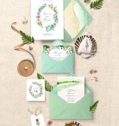 tropical leaf wedding invitation clipart design set [ 800 x 1134 Pixel ]