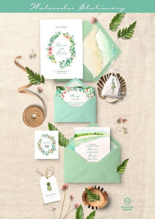 small resolution of tropical leaf wedding invitation clipart design set