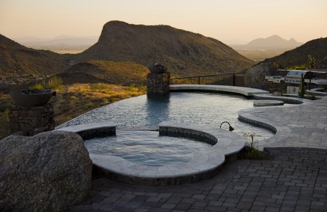 Infinity Edge Swimming Pool Gallery  Presidential Pools Spas  Patio of Arizona