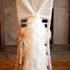 Wedding Chair Sash Accessories Standing Office Chairs Romantic Ruffles Chiffon Cap Mrs Freund Co