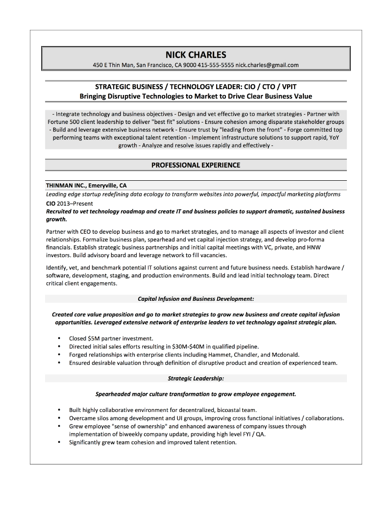 Ciso Resume Samples Quantum Tech Resumes