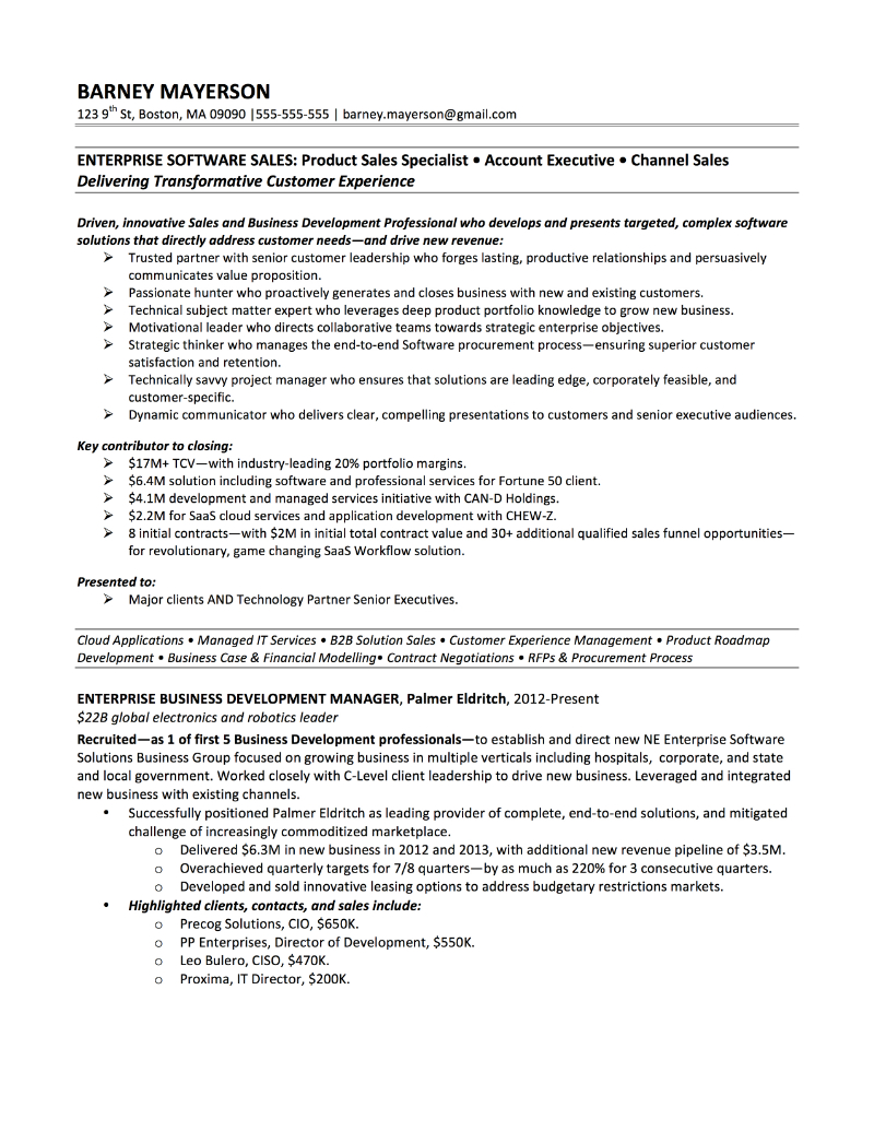 Sales Executive Resume Examples Examples Of Resumes