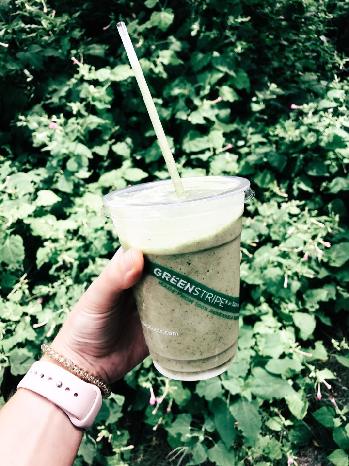 Banana Kale smoothie with almond milk and hemp protein
