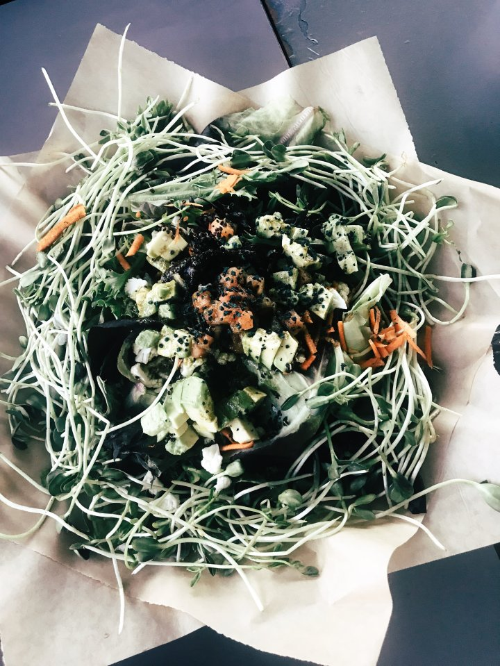 The Mega Salad: microgreens with cauliflower, carrots, cilantro, tomato, red onion, sprouted red quinoa, spirulina bits & tarragon vinaigrette
