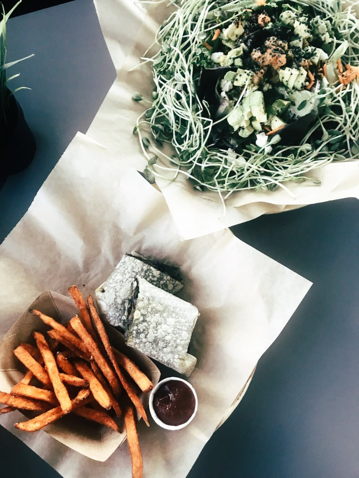 Salad + Sweet Potato Dill Fries