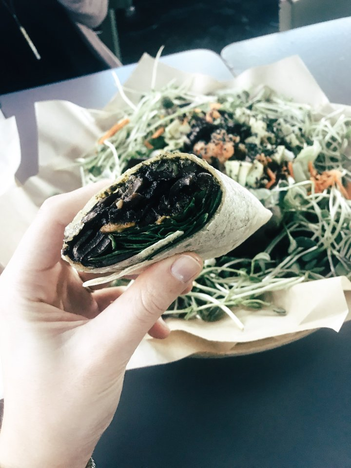 The Sweet Porta Wrap (on a rice tortilla (grilled portabella mushrooms, sweet potatoes, spinach over sunflower pesto)
