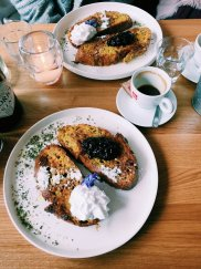 French Toast with blackberry compote+ whipped cream