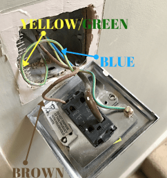the fuse box take your your insulated screwdriver and unscrew the old switch plate away from the wall your basic light socket has 3 wires brown  [ 800 x 1004 Pixel ]