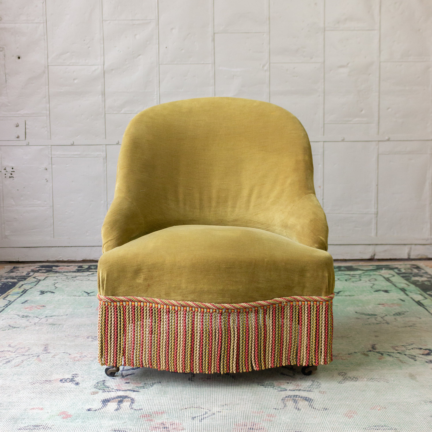 Velvet Slipper Chair French 19th C Slipper Chair In Green Velvet