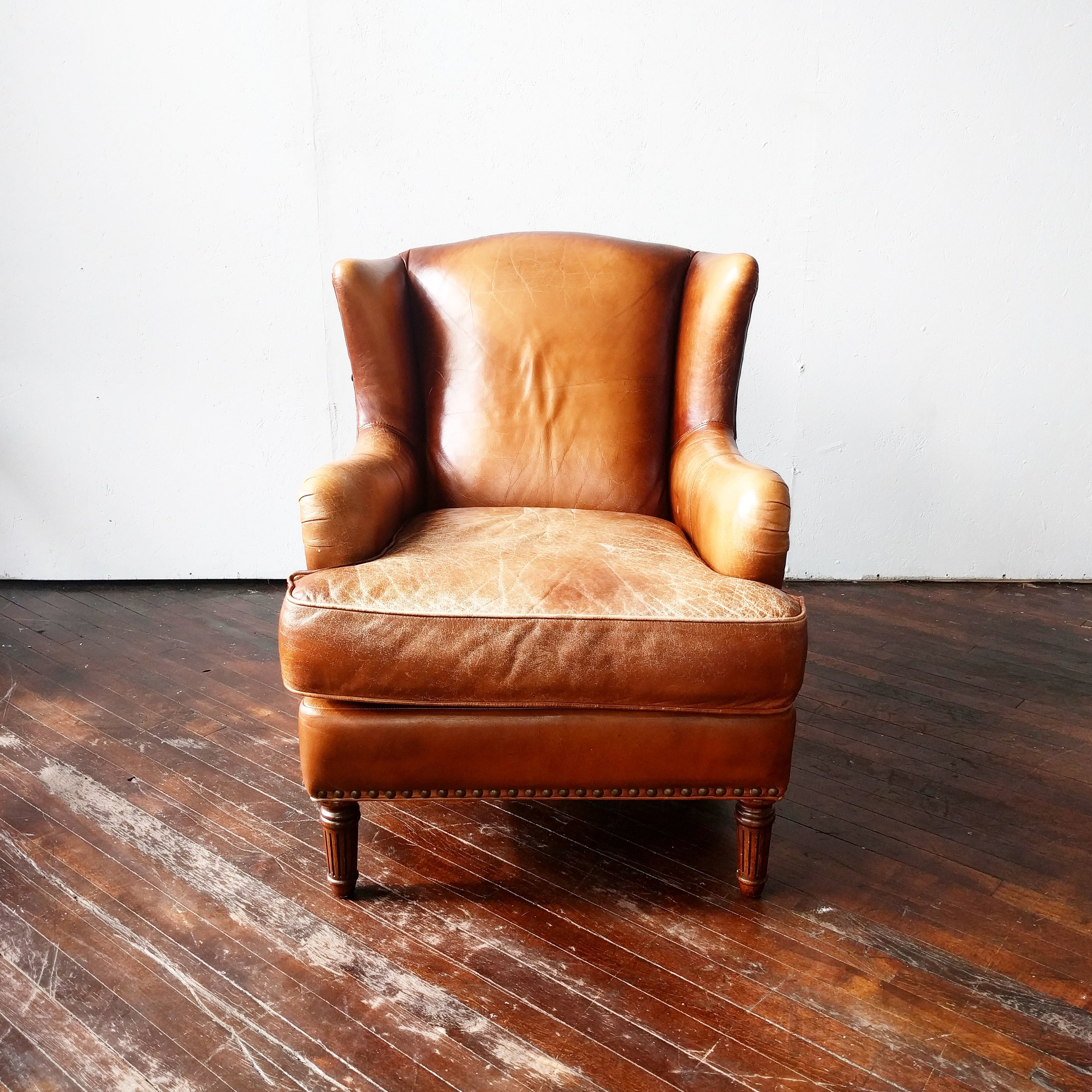 Brown Leather Wingback Chair Hemmingway Leather Wingback Armchair