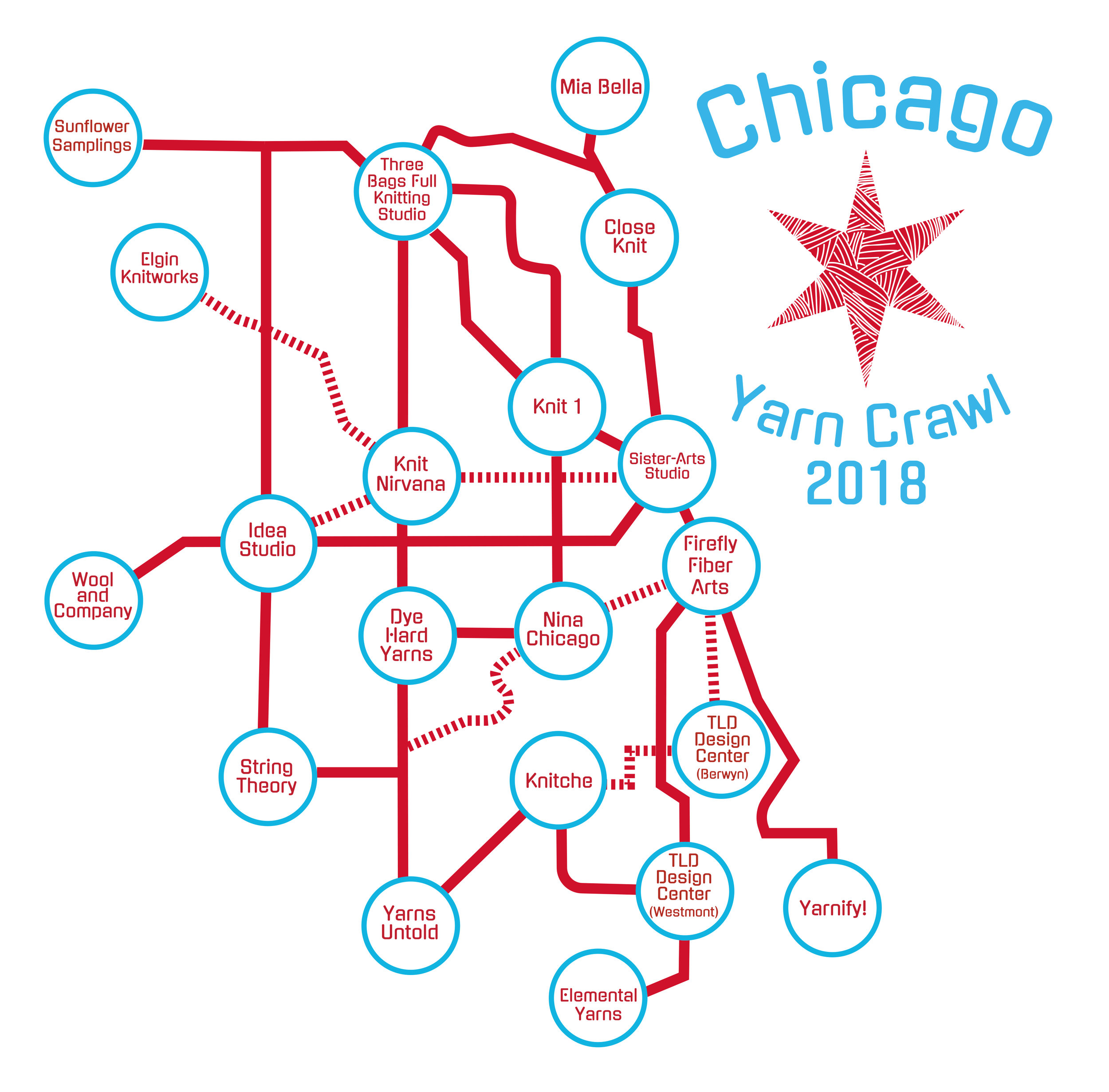 hight resolution of chicago yarn crawl