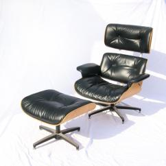 Selig Eames Chair Lightweight Aluminum Chairs Vintage In Black Leather W Maple Back Ottoman Plycraft Rare