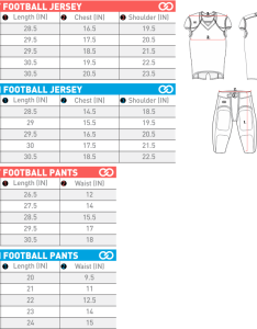 Wooter apparel size charts football jerseyg also sizing   team uniforms and custom sportswear rh wooterapparel