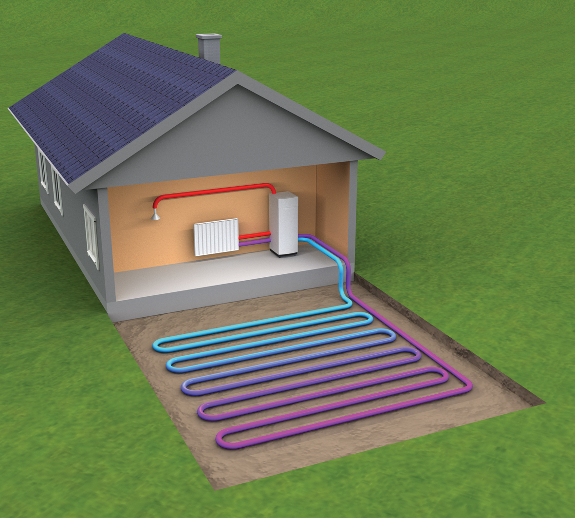 hight resolution of ground source heat pump collector pipe is laid in one metre deep trenches in suitable ground conditions pipe centres of one metre are maintained across