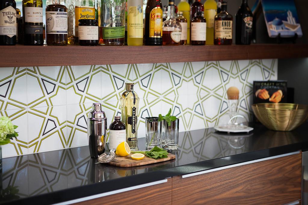 kitchen back splash 2 chair table set backsplash ideas mid century modern interior designer handpainted tile pattern featuring a custom colorway from fireclay