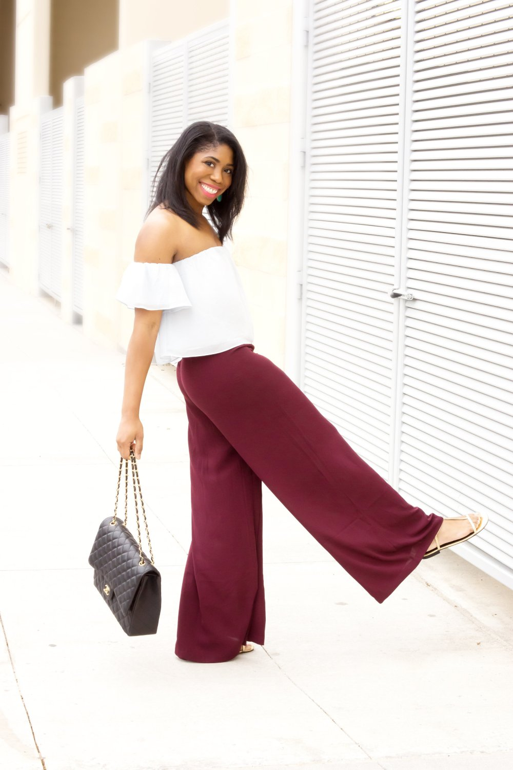black fashion blogger stephanie taylor jackson dallas blogger off the shoulder top wide leg pants
