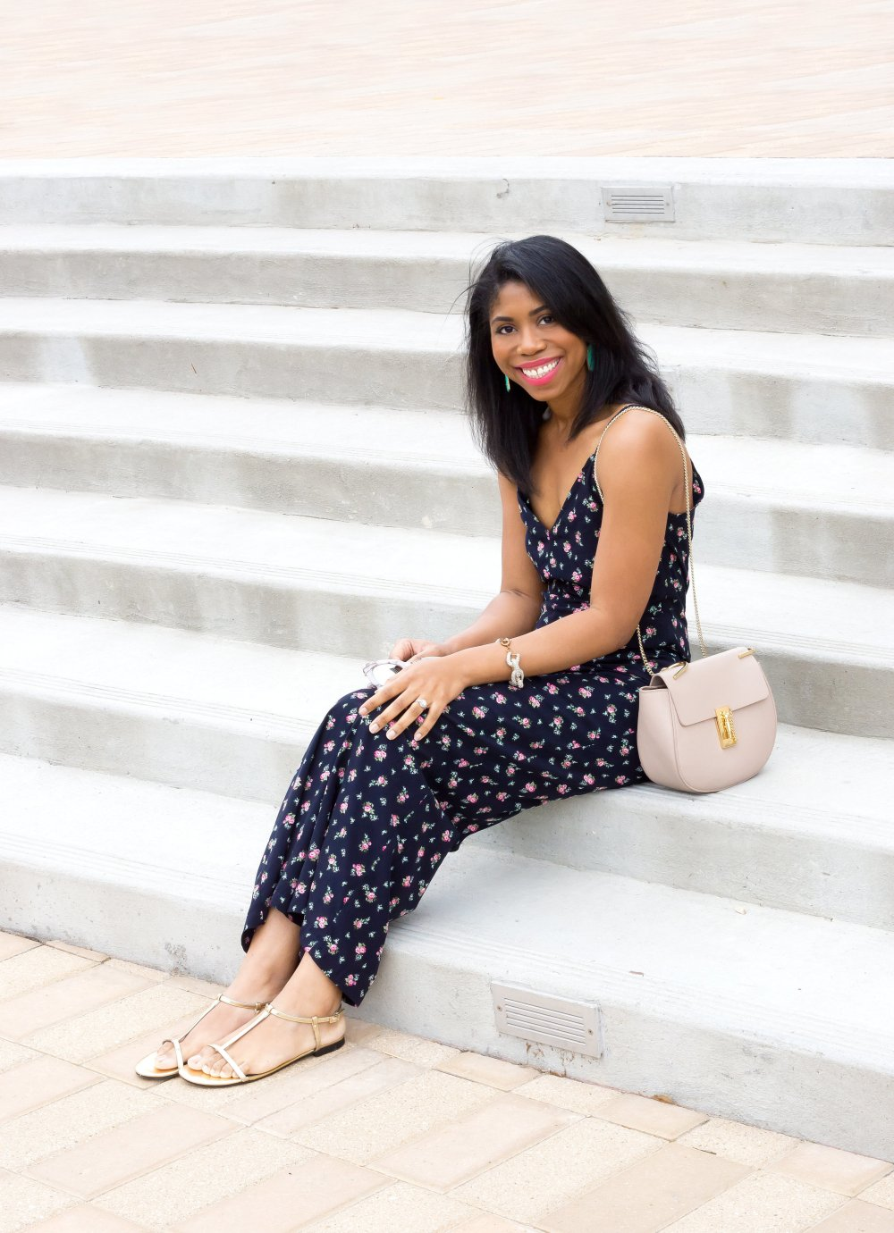 spring summer style floral jumpsuit under $100 chloe handbag stephanie taylor jackson best black fashion bloggers